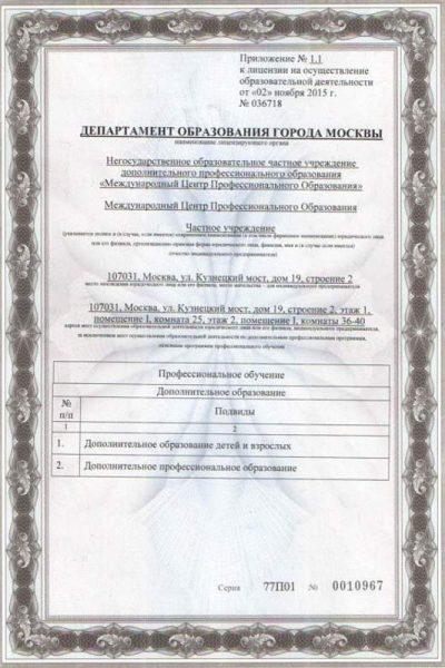 Приложение к лицензии №1